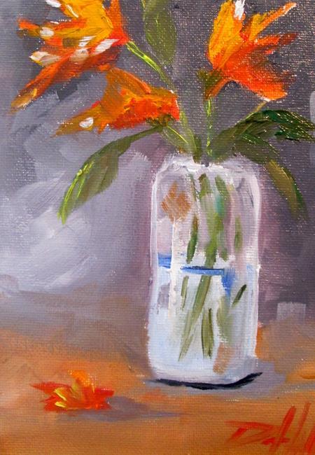 Art: Orange Flowers in a Glass Jar by Artist Delilah Smith