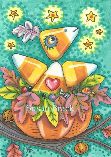 Art: CANDY CORN TWEET by Artist Susan Brack
