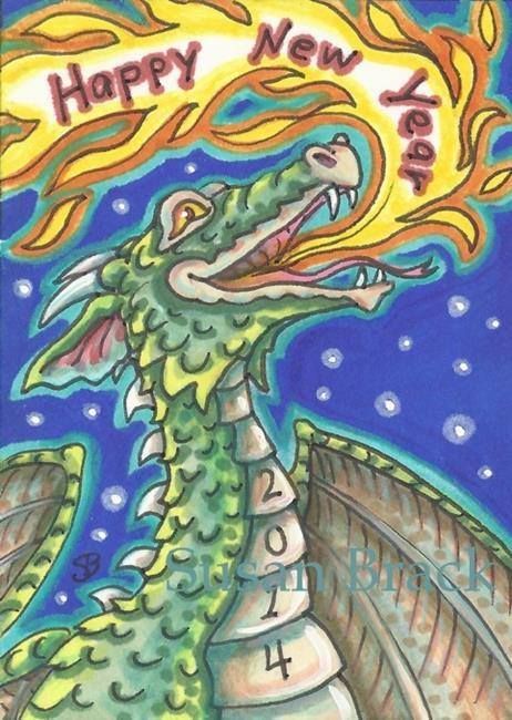 Art: FLAMING NEW YEAR DRAGON by Artist Susan Brack