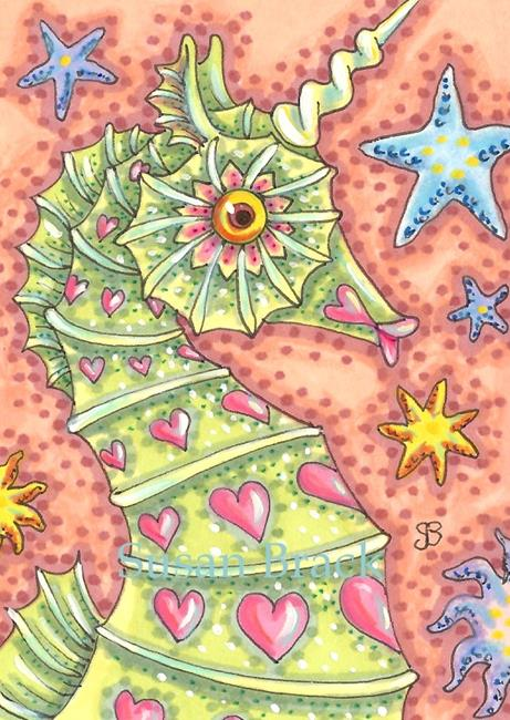 Art: STARS AND HEARTS SEAHORSE by Artist Susan Brack