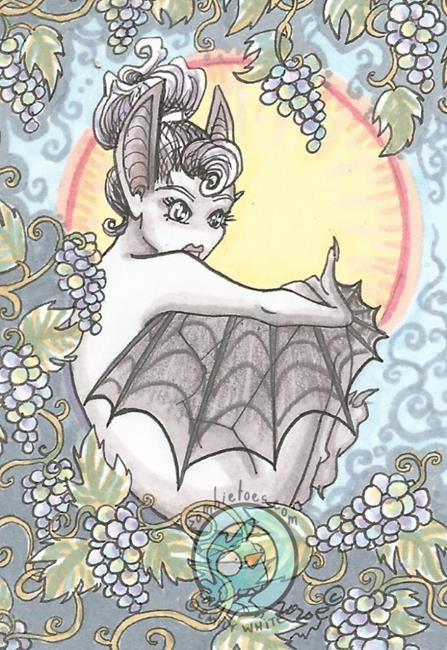 Art: Fruit Bat by Artist Emily J White