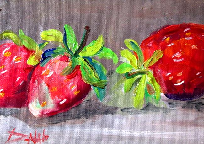 Art: Three Strawberries by Artist Delilah Smith