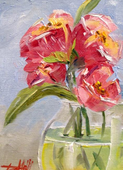 Art: Vase of Pink Tulips by Artist Delilah Smith