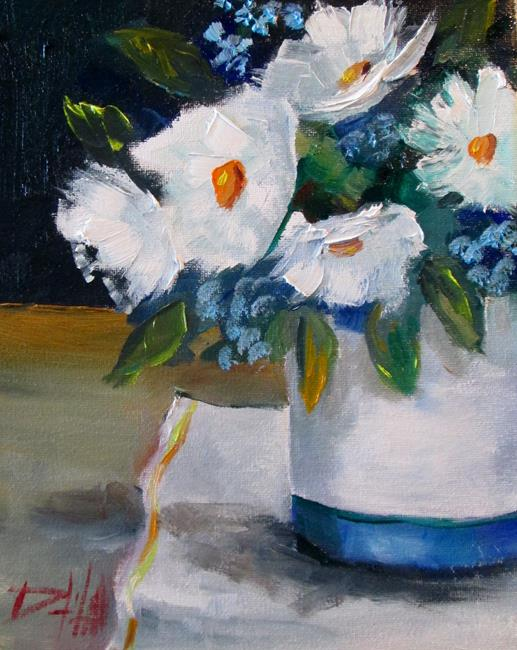 Art: White and Blue Flowers by Artist Delilah Smith