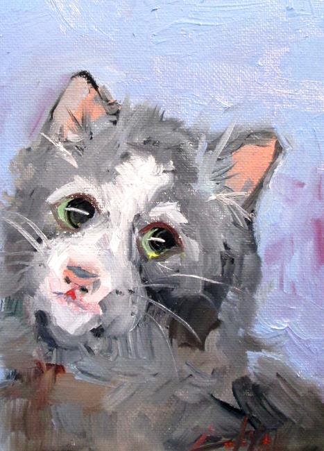 Art: Gray cat-sold by Artist Delilah Smith