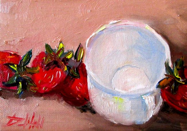 Art: Cup and Strawberries by Artist Delilah Smith