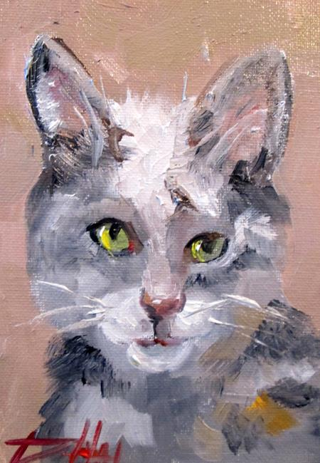 Art: Gray and White Kitty by Artist Delilah Smith