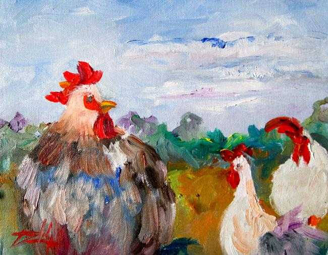 Art: Chickens in the Yard by Artist Delilah Smith