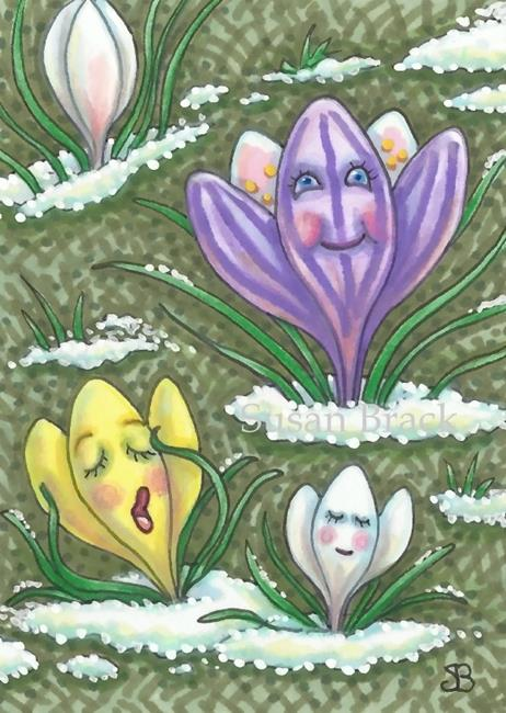 Art: AFTER A LONG WINTER'S NAP Spring Crocus by Artist Susan Brack