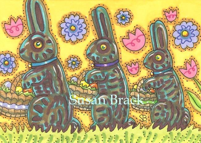 Art: CHOCOLATE RABBITS N' EASTER BASKETS by Artist Susan Brack