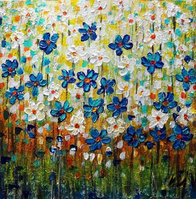 Art: Forget Me Not Flowers by Artist LUIZA VIZOLI