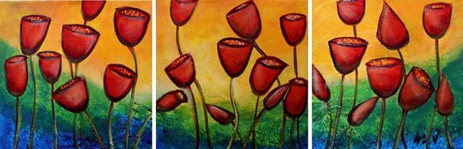 Art: RED TULIPS by Artist LUIZA VIZOLI