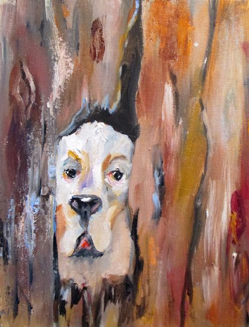 Art: Dog Behind the Fence by Artist Delilah Smith
