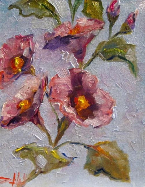 Art: Purple Hollyhocks by Artist Delilah Smith