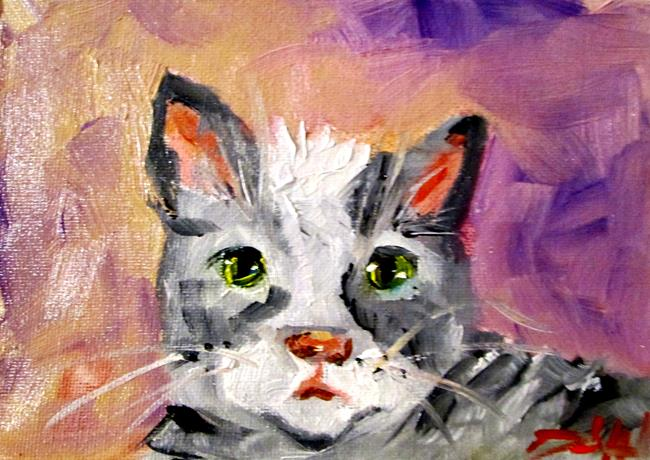 Art: Gray stripped Catr by Artist Delilah Smith