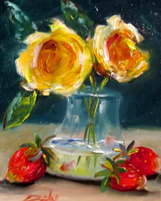 Art: Yellow Roses and Strawberries by Artist Delilah Smith