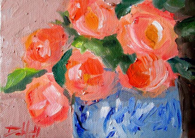 Art: Blue Vase of Flowers by Artist Delilah Smith