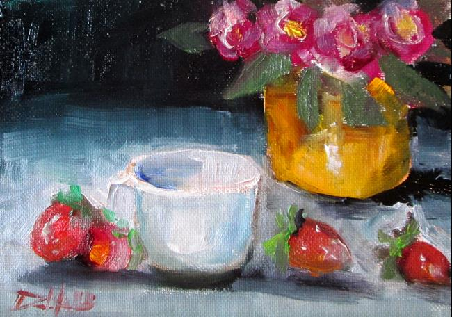 Art: Floral Still Life with Berries by Artist Delilah Smith
