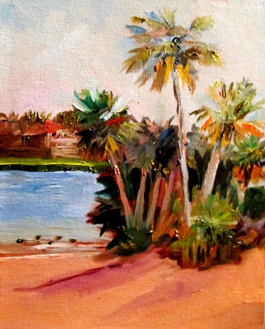 Art: Palm Trees at Sunset Beach by Artist Delilah Smith