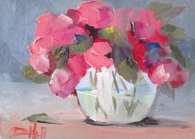 Art: Vase of Pink Flowers by Artist Delilah Smith