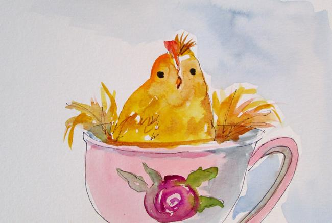 Art: Chick in a Cup by Artist Delilah Smith