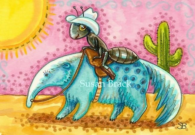 Art: RIDING INTO THE SUNSET Bug by Artist Susan Brack