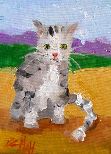 Art: Gray stripped cat by Artist Delilah Smith