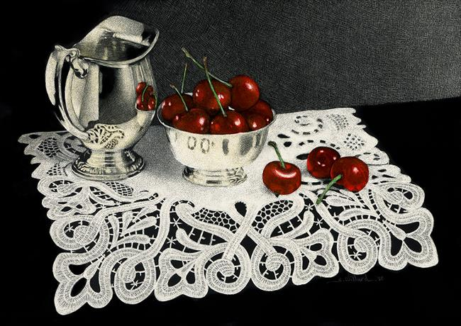 Art: Silver Cherries Lace by Artist Sandra Willard
