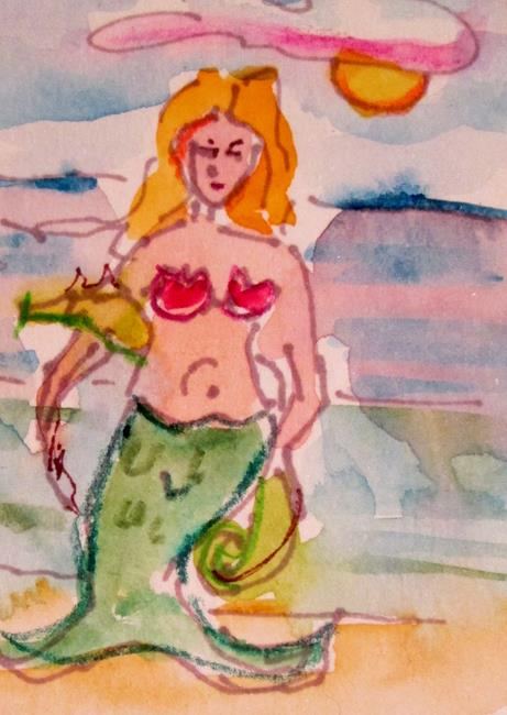 Art: Mermaid and Seahorse by Artist Delilah Smith