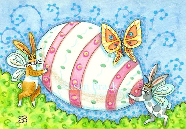 Art: FLUTTERBUN EASTER EGG HUNT by Artist Susan Brack