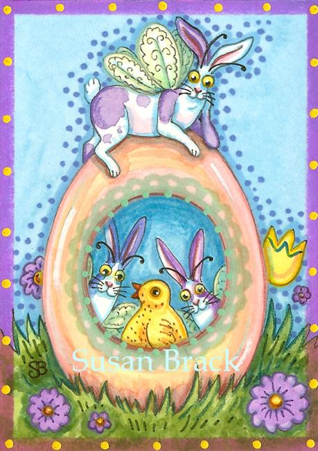 Art: FLUTTERBUN EASTER GREETINGS by Artist Susan Brack