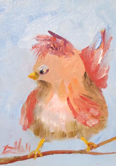 Art: Chubby Bird on a Limb by Artist Delilah Smith