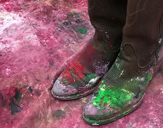Art: Watermelon Crawl Painted Boots by Artist Anthony Allegro