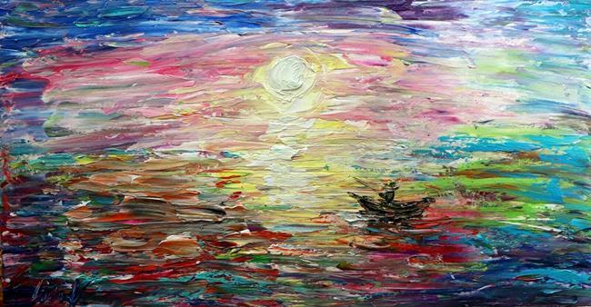 Art: Fishing BOAT at SUNSET by Artist LUIZA VIZOLI
