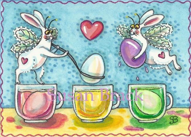 Art: FLUTTERBUN A DIP IN MELLOW YELLOW Easter by Artist Susan Brack