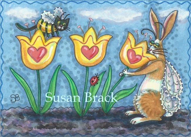 Art: FLUTTERBUN STOP AND SMELL YOUR TULIPS by Artist Susan Brack