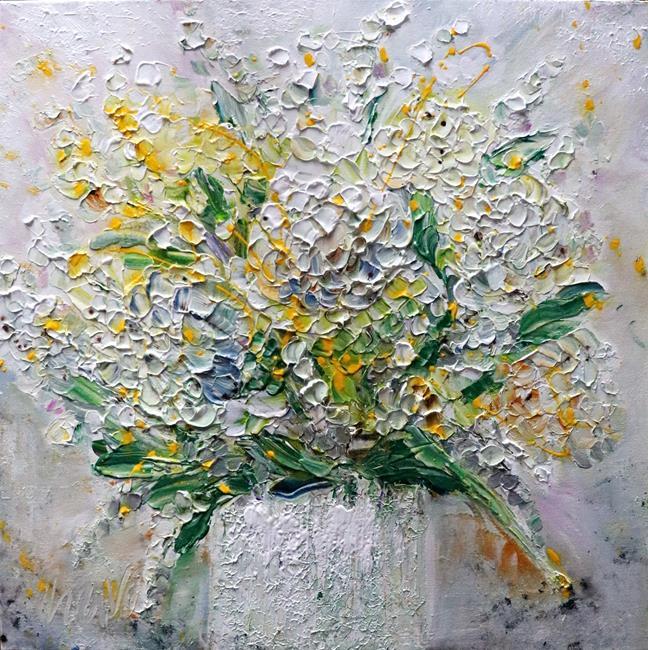 Art: Hydrangea Spring Flowers Bouquet by Artist LUIZA VIZOLI
