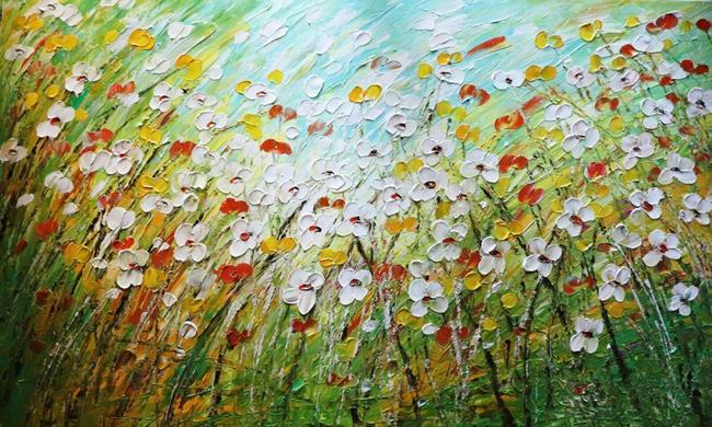 Art: DAISY FIELD Flowers Meadow by Artist LUIZA VIZOLI
