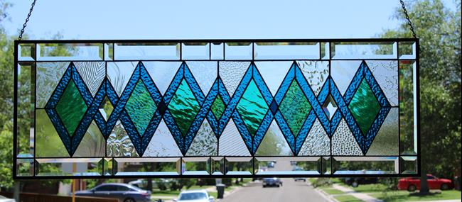 Art: •Teal Green •Beveled Stained Glass Window Panel-Transom- 27 5/8x13 1/2 by Artist Chris Gleim