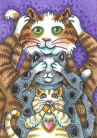 Art: FUR AND PURRS SEE NO EVIL by Artist Susan Brack