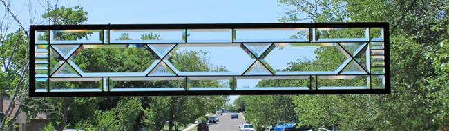 Art: Extra Long Clear Privacy Sidelight,Transom by Artist Chris Gleim