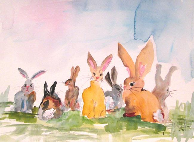 Art: Rabbit Family by Artist Delilah Smith