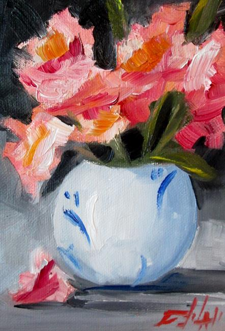 Art: Vase of Pink Flowers No. 2 by Artist Delilah Smith