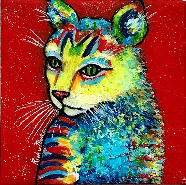 Art: Cat with sparkly resin finish by Artist Ulrike 'Ricky' Martin