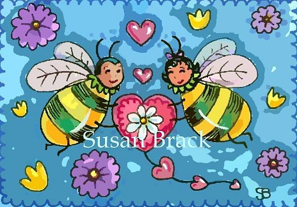 Art: BEE MY VALENTINE Honeybees by Artist Susan Brack