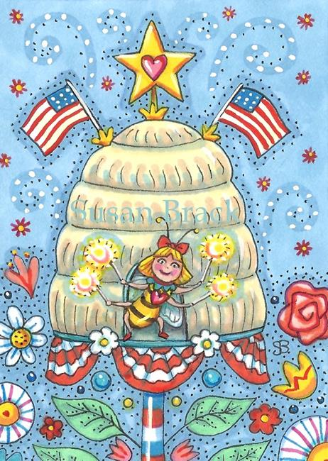Art: BEE TRUE TO THE RED WHITE AND BLUE by Artist Susan Brack