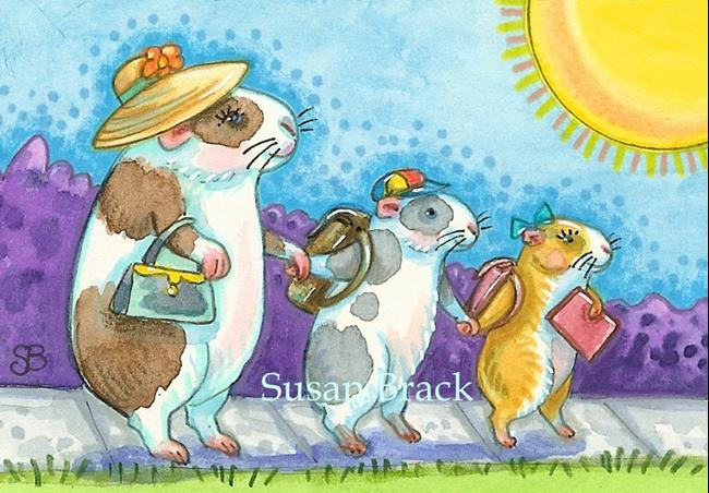 Art: FIRST DAY OF GUINEA PIG SCHOOL by Artist Susan Brack