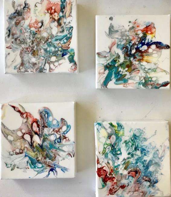Art: Set of Four Pour Paintings - Sold by Artist Ulrike 'Ricky' Martin