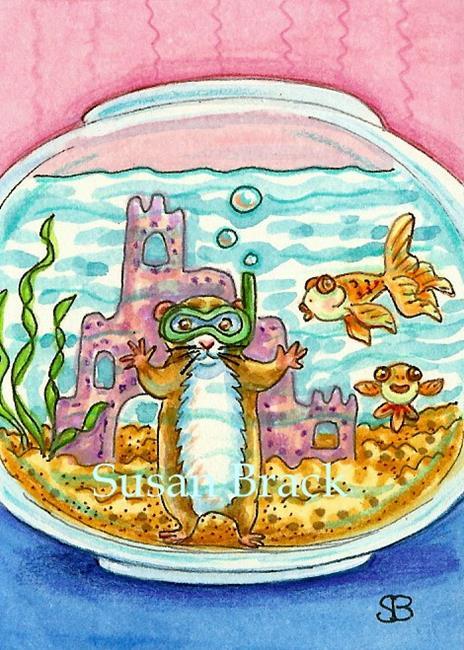 Art: SCUBA DIVING HAMSTER by Artist Susan Brack