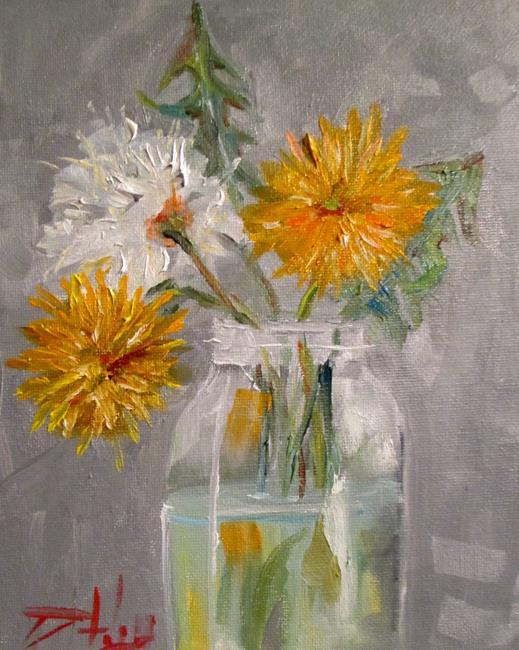 Art: Fruit Jar of Dandelions by Artist Delilah Smith
